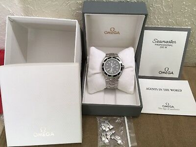 Vintage Omega Seamaster 200m 396.1041 Rare Full Size Pre Bond Watch Box & Papers