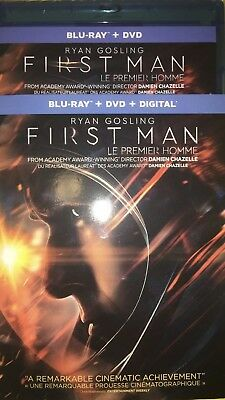First Man Ryan Gosling 2019 Blu Ray + DVD w Slip Cover Canada Bilingual LOOK