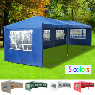 Large 3mx9m 9 Side Waterproof Garden Gazebo Outdoor Marquee Canopy PE Party Tent