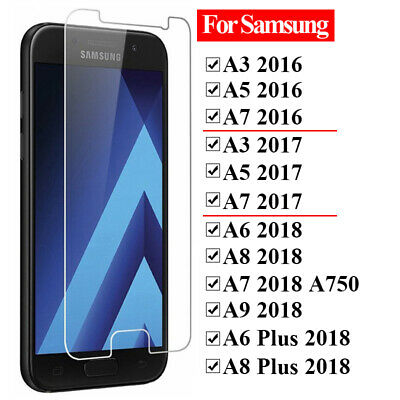 5x Tempered Glass Screen Protector For Samsung Galaxy A3 A5 A7 2017 A6 A82018 A+