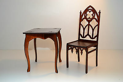 Furniture For Dolls Chair Table 1:6 Barbie FR Wooden Gothic Style HIT NEW
