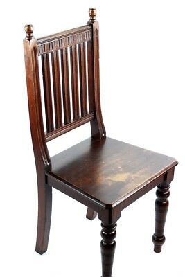 Antique Mahogany Slat Back Hall Chair - FREE Shipping [PL4844]