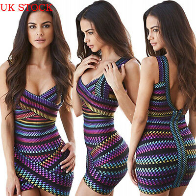 UK Women Bandage Bodycon Sleeveless Evening Party Cocktail Club Short Mini Dress