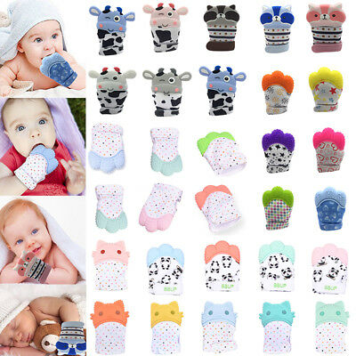 Newborn Baby Silicone Molar Teether Gloves Kids Teething Mitten Anti Scratch
