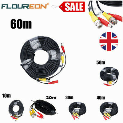 10M-60M BNC DC Power Cable Extension Lead For CCTV DVR Video Security Camera NN