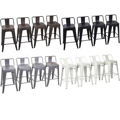 Set of 4 Metal Bar Stools Counter Height Barstool Chair w/ Low Back 18/24/26/30""