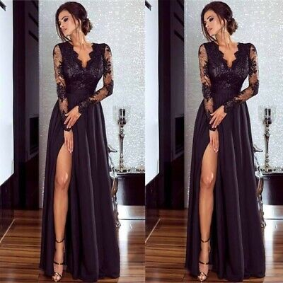 AU Elegant Women Long Sleeve Sexy V-Neck Evening Formal Party Ball Gown Dress