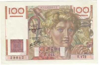 Banque France billet 100 Francs Paysan 1946 Spl / French bank note XF