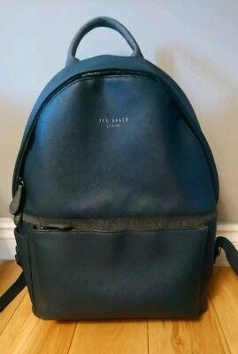 02ff83901ddfc TED BAKER LONDON Navy Leather Mens Rucksack backpack RRP £160 ...
