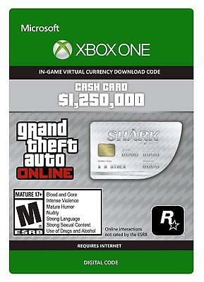 Grand Theft Auto GTA V 5 Online (Xbox One) White Shark Cash Code $1,250,000