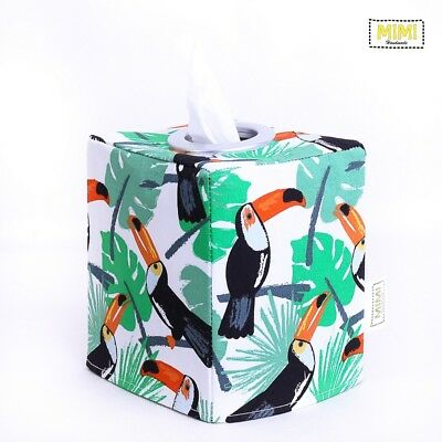 Modern Handmade Tissue Box Cover Holder Nursery Bathroom TROPICAL TOUCAN GREEN