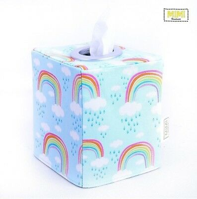 Modern Handmade Tissue Box Cover Holder Nursery Bathroom BLUE PASTEL RAINBOW