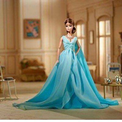 Blue Chiffon Ball Gown Silkstone Barbie-Outfit ONLY-Dress Shoes Necklace-Fashion
