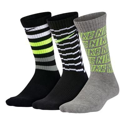Nike Youth Performance Cushioned 3 Pack Crew Socks  SX5815-968 SZ S 3Y-5Y