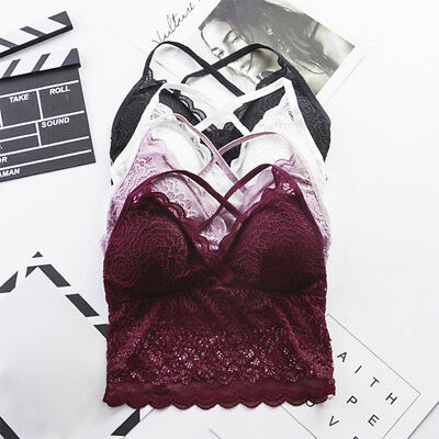 Women Floral Sheer Lace Triangle Bralette Wire free Bra Top Strappy Lingerie NJ