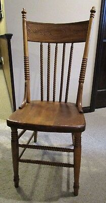 Carved Oak Pressed Back Antique Chair