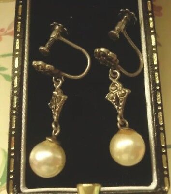 C1915-1935 Antique ART DECO Glittering MARCASITE PEARL Drop Earrings