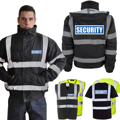 Hi Vis Security Reflective Bomber Parka Jacket Vest T-Shirt | Yellow & Black