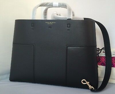 1b84c8a39e40  528 AUTH NWT TORY BURCH Block T Compartment Black Leather Tote Satchel