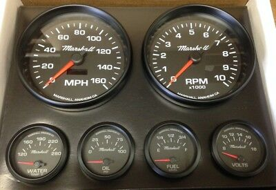 C2 REDLINE 6 Gauge Set, Silver Bezels, 73-10 Ohm Fuel Level