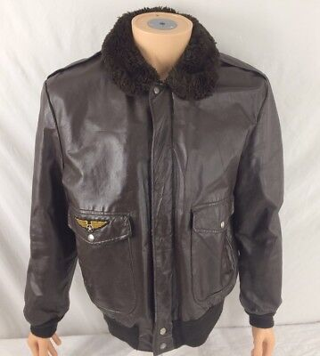 d84a9e510c058 Vtg Cooper Leather Bomber Jacket Brown Faux Fur Collar Coat Men 42 Patch