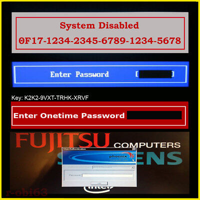 SONY VAIO ONETIME FUJITSU SIEMENS NEW 6x4 BIOS PASSWORD REMOVAL & UNLOCK SERVICE