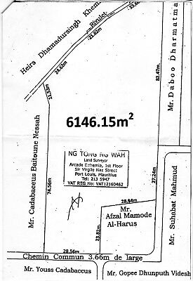 1 Acre and 3 quarters land for Sale in Pamplemousse Mauritius