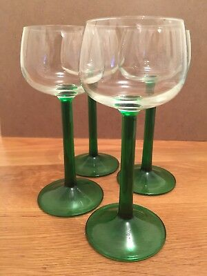 Green/Crystal Blown Glass Wine Goblets - Made in France Set of 4 Vintage