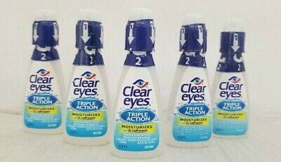 Clear Eyes Triple Action Relief Lubricant Eye Drops 15 mL (10 Pack) 10/20+