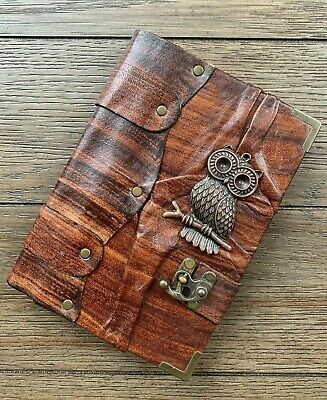 Belt Strap Leather Journal Handmade Notebook Diary Owl Design Brown Large