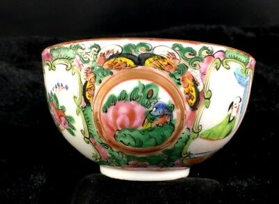 Antique Chinese Export Tea Cup Famille Rose Medallion Gold Gilt Post 1915