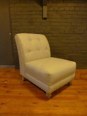 Ashley Manor arm less chair chenille velvet silver beige  high backed buttoned
