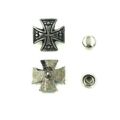 """10 Metal 5/8"""" (15mm) MALTESE CROSS with STARS Rivet Studs (2003) Leather Crafts"""