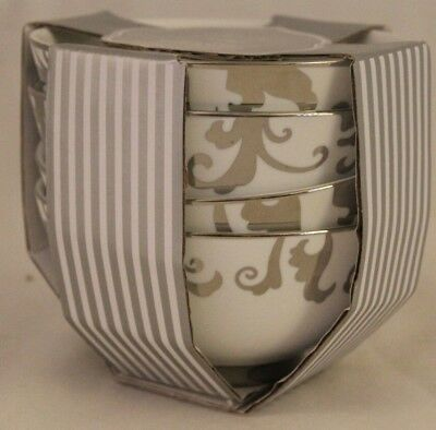 Ciroa Veluto Silver Swirls Metallic Accent Porcelain Soup Bowls Set of Four New