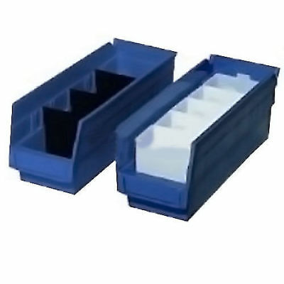 "Akro-Mils Plastic Shelf Bin Nestable, 11-1/8""W x 23-5/8""D x 4""H, Blue, Lot of 6"