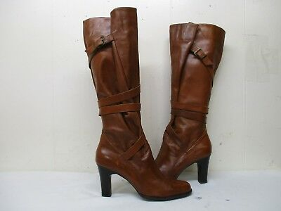 48915ff48f3 Steven By Steve Madden Morgan Brown Leather Knee High Heel Boots Size 40 EUR