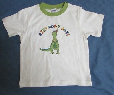 GYMBOREE 2T SHIRT Happy Birthday Boy With Dinosaur White With Green
