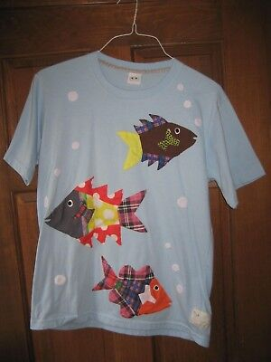 QUILTED Philippines TShirt Handmade in Caohagan Blue w/ Fish & Bubbles Size L