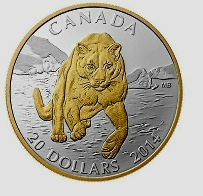 2014 Canada $20 Dollars 9999 silver coin COUGAR pouncing in the Snow