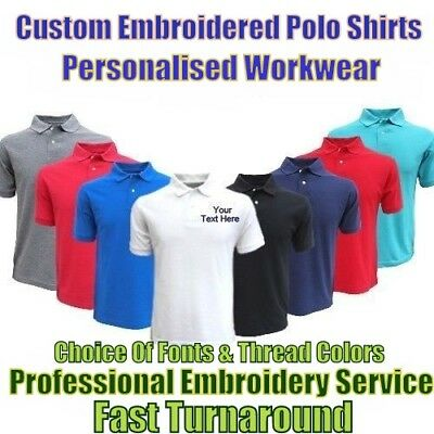 Custom Embroidered Polo Shirt Personalised With Text & Logos Workwear & Uniforms