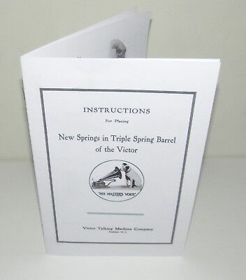 Victor Phonograph Triple Spring Removing and Replacing Instruction Manual Copy