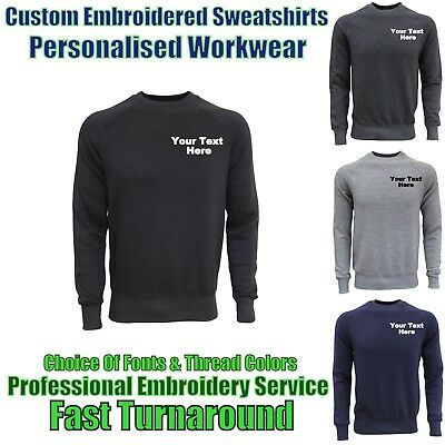 Custom Embroidered SweatShirt Personalised With Text & Logos Workwear & Uniforms