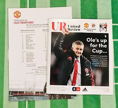 Manchester United v Reading FA Cup 5th January 2019 Match Programme & Team Sheet