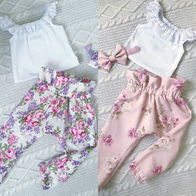 3PCS Newborn Baby Girls Lace T-shirt Floral Pants Headband Outfit Set Clothes AU