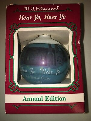 "Goebel Glass Ball Christmas Ornament ""Hear Ye, Hear Ye"" 1985 MJ Hummel"