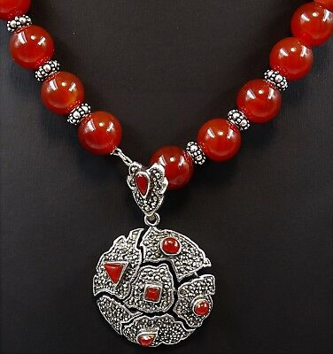 Stunning STERLING SILVER Carnelian Marcasite Art Deco Necklace