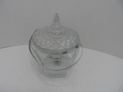Anchor Hocking Wexford Pressed Crystal Glass Covered Ice Bucket w/Handle &Tongs