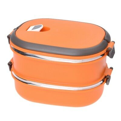 Compact Lunch Box Stainless Steel Two Layers Warmbox Bento Box Picnic Box s Z9P1