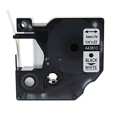 """1PK 43613 Black on White Label Tape for DYMO D1 Label Manager 100 Plus 6mm 1/4"""""""