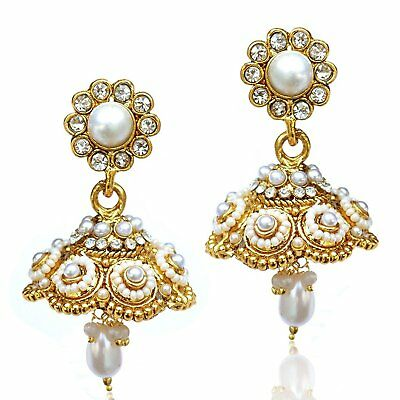 Bollywood Party Wear Gold Plated Jhumki Earrings For Women Jewelry Indian Jhumka